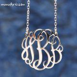 Silver monogram necklace