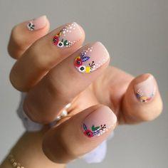 Square Gel Nails, Short Square Nails, Short Almond Nails, Short Gel Nails, Almond Gel Nails, Girls Nail Designs, Flower Nail Designs, Art Designs, Palm Nails