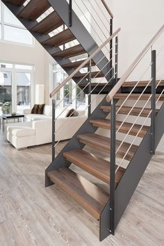 Modern staircase design ideas - browse inspiring pictures of modern staircases. with treads as well as rails crafted from timber, steel, concrete, rock, House Staircase, Open Staircase, Staircase Remodel, Floating Staircase, Staircase Railings, Wood Stairs, Staircase Ideas, Basement Stairs, Staircase Decoration