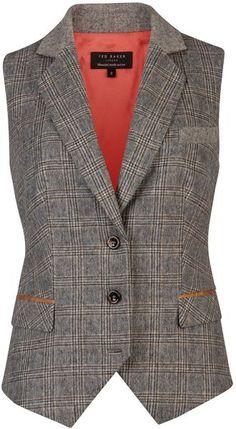 ba399b93c15e Ladies waistcoat Ted Baker Gali Tweed Waistcoat in Gray (charcoal)