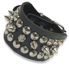 Metal Cone Stud Spikes Rivet Bangle Cuff Strap Bracelet