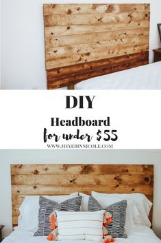 sweet home DIY Wooden Headboard + Renter Friendly Hack Diy Casa, Diy Headboards, Diy Wooden Headboard, Homemade Headboards, Diy Headboard With Lights, Diy King Headboard, Plywood Headboard, Headboard Ideas, Diy Holz