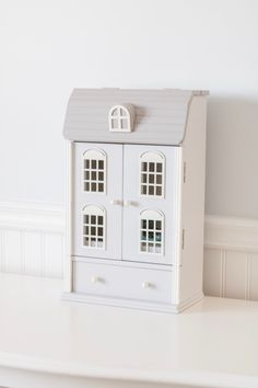 Grey Parisian French house jewelry box for little girls bedroom - Chandeliers and Champagne