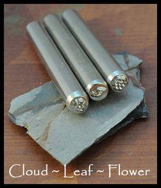 3 Nature Metal Stamps - Cloud, Leaf, Flower