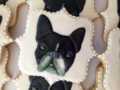 Bulldog Cookies~                           By Oh Sugar Events: French Bulldog, black, white, plaque
