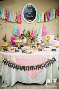 This is awesome! It's a complete party package that gets shipped to you! Tea Party Theme Birthday Party, complete party package, pink, mint, & gold, birthday decorations.