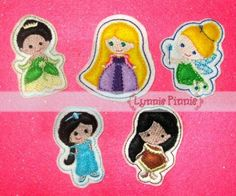 Embroidery Designs - Princess Felt Clippies SET 2 - Welcome to Lynnie Pinnie.com! Instant download and free applique machine embroidery designs in PES, HUS, JEF, DST, EXP, VIP, XXX AND ART formats.