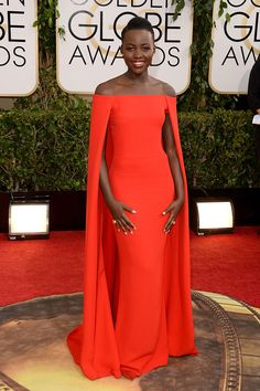 Lupita Nyong Golden Globes Red Carpet Dress Off-the-shoulder Evening Gown