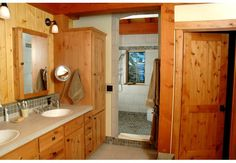 Bathroom in a timber frame home