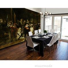 Vlies fotobehang Nachtwacht #rembrandt Foto Poster, Dining Room, Dining Table, Rembrandt, Table Settings, Wall Decor, Wallpaper, House, Inspiration