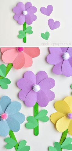 Paper Heart Flowers | Popsicle Stick Flowers with Heart Leaves