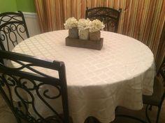 Lenox Laurel Leaf Damask 70 inch Round Tablecloth Gold  #Lenox