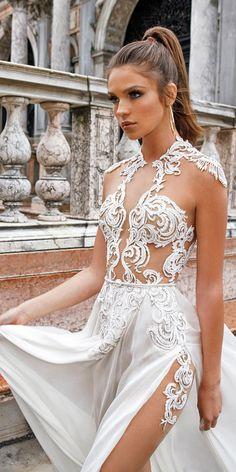lace a line with slit julie vino wedding dresses / http://www.deerpearlflowers.com/best-wedding-dresses-2018/8/