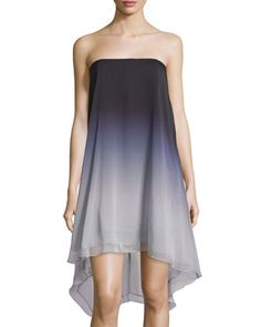 Strapless+Ombre+High-Low+Dress,+Mist+by+Halston+Heritage+at+Neiman+Marcus+Last+Call.