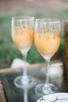 Etched glassware | Jenna Bechtholt Photography | see more on: http://burnettsboards.com/2014/12/bohemian-chic-engagement-parts/