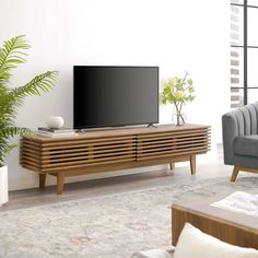 """Shop Black Friday Deals on Render 71"""" TV Stand - Overstock - 28964951 Modern Living Room Table, Mid Century Modern Living Room, Living Room Furniture, Modern Furniture, Living Rooms, Apartment Living, Wood Furniture, Living Area, Low Profile Tv Stand"""
