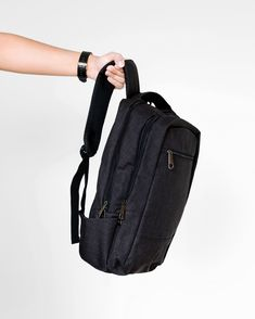 Minimalistic design that will hold all your everyday essentials. Minimalist Bag, Minimalist Design, Minimalist Fashion, Black Linen, Sling Backpack, Traveling By Yourself, Essentials, Backpacks, Bags