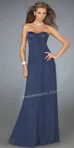 A Strapless Long Chiffon Prom Dress