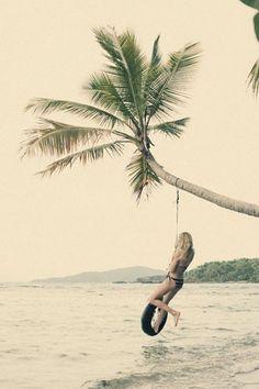 the perfect tire swing // beach // ocean // girl // summer // palm tree