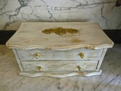 Jewelry Box/UpCycled/ 2 Drawer/Paint Distressed Antique White Gold/Ornate Vintage Brass Drawer Handle Backplate (42.00 USD) by PippinPost