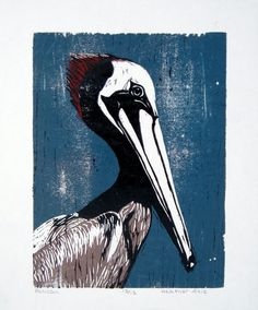 Pelican Relief Reduction Block Print by HKArtsCollection on Etsy, $120.00