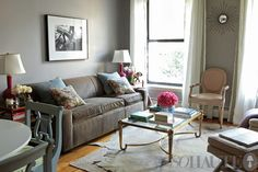 grey and brown- grey walls chocolate brown furniture...LOVE with accent colors to make it pop