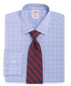 Supima® Cotton Non-Iron Traditional Fit Glen Plaid Windowpane Dress Shirt - Brooks Brothers
