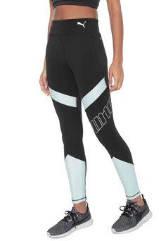 Legging Puma Elite Speed Tight Preta/Verde Casual, Tights, Sweatpants, Jeans, Outfits, Fashion, Fitness Apparel, Templates, Totes