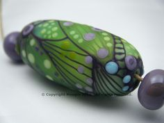 Moogin Beads- Spring greens large etched oval focal bead set lampwork / glass   - SRA by mooginmindy on Etsy