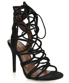 SR Keywest Strappy Gladiator Open Toe Stiletto High Heel Lace Up Sandal Shoe Black * Hurry! Check out this great product : Strappy sandals