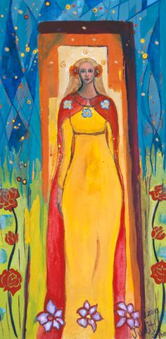 Small Print Goddess Art -Creiddylad, Celtic Goddess of Flowers and Love - $25