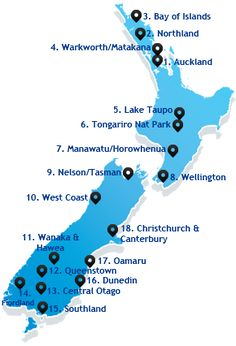 Classic New Zealand tourist route itinerary map