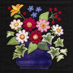 Applique Quilts   Summertime Sampler Wool Applique Quilt Pattern