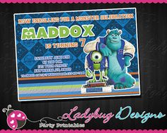 Monsters University Invitation  DIGITAL FILE  by LadybugPrintables, $8.50