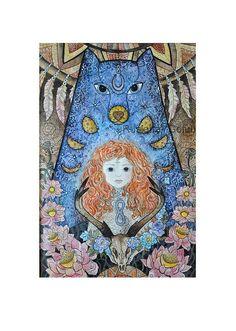 Teen wolf Redhead witch Last guardian Deer skull Mythology Asatru Moon phase Spiritual Occult Bohemian Pagan decor Original Wall art print Pagan Decor, Witch Decor, Witch Art, Scull Drawing, North Mythology, Teen Wolf Art, Skull Wall Art, Spiritual Paintings, Deer Skulls