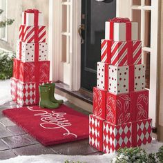 Looks like someone made Santa's Nice List. Standing 4 ft. tall and decked out in whimsical red-and-white wrap, our all-weather Presents Stack Topiary is the stack of gifts that just keeps giving. Substantial resin and fiberglass construction is made to last for winters to come, whether you place it outside in the yard, on the porch, or indoors near a staircase. Topiary arrives as five individual, hollow pieces, each present sitting firmly into a groove on the present below; when the seaso...