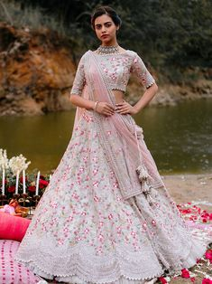 Ivory Organza lehenga with multicoloured threadwork embroidery - Anushree Reddy Indian Bridal Outfits, Indian Fashion Dresses, Indian Designer Outfits, Bridal Dresses, Designer Dresses, Ethnic Fashion, Party Dresses, Lehenga Indien, Designer Bridal Lehenga