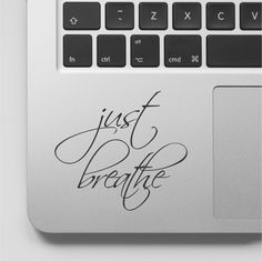Macbook Decal Quote   Just Breathe   Yoga Motivational Laptop Decal Quote   Inspirational Macbook Sticker Quote by FixateDesigns on Etsy