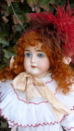Old antique Victorian German bisque head doll by J.D. Kestner- Rare open closed mouth doll with inset carved teeth.