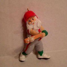Vintage Hallmark Christmas Ornament 1987 Santa At The Bat Baseball Santa