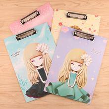 Linda chica beaty serie junta Tablet holder papel bloc de notas carpeta A4 portapapeles para suministros de oficina regalos/clip de papelería tablas(China)