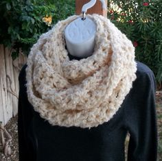 INFINITY SCARF Loop Cowl Cream Off White Long Soft by MicheleMade