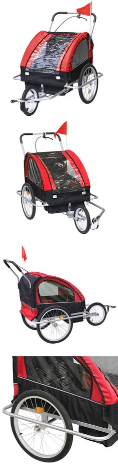 Trailers 85040: Double Baby Bike Trailer Stroller Child Bicycle Kids Jogger Jogging W/3 Wheels -> BUY IT NOW ONLY: $105.55 on eBay!
