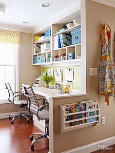 Busy families benefit from shipshape desktops, which allow many to work at one time. Consider adding built-in shelving or moving a bookcase near your desk. Designate different areas/containers to handle each family member's office goods. Mount expandable wall files or wall pockets on work area walls to manage incoming and outgoing paperwork and temporarily manage receipts awaiting filing./
