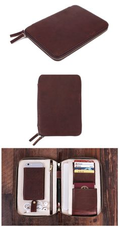 Wallets for Men Leather Travel Wallet Passport Holder - Groomsmen Gift Handmade Leather Wallet, Leather Gifts, Leather Men, Leather Laptop Bag, Leather Purses, Leather Bags, Tablet, My Guy, Groomsman Gifts