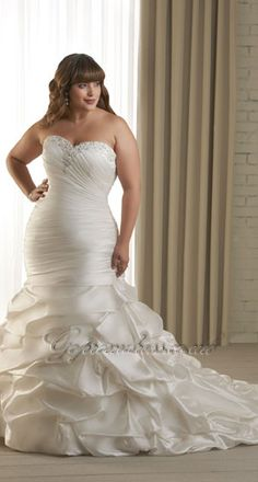 f4cbf86f014a7 New Arrival Trumpet Mermaid Sweetheart Neckline Tiered Plus Size Wedding  Dress
