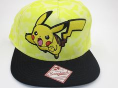 Pokemon Pikachu Yellow Nintendo Bioworld Snapback Hat  Bioworld  BaseballCap 6286fe5db34a