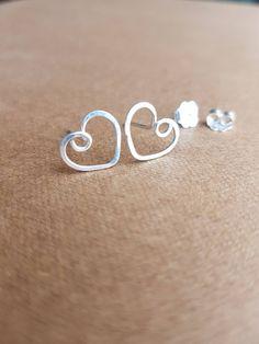 038e9c05f 925 Sterling Silver Heart Earrings, Dainty Wire Earrings, Heart Earrings,  Simple Jewelry,