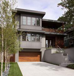 wood garage door, horizontal railing/fence/privacy screen