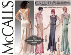 1930s Evening Gown Pattern Uncut McCalls M7154 MP430 6057 Flapper Wedding Dress Bridal Prom Cocktail Reissue Womens Vintage Sewing Patterns